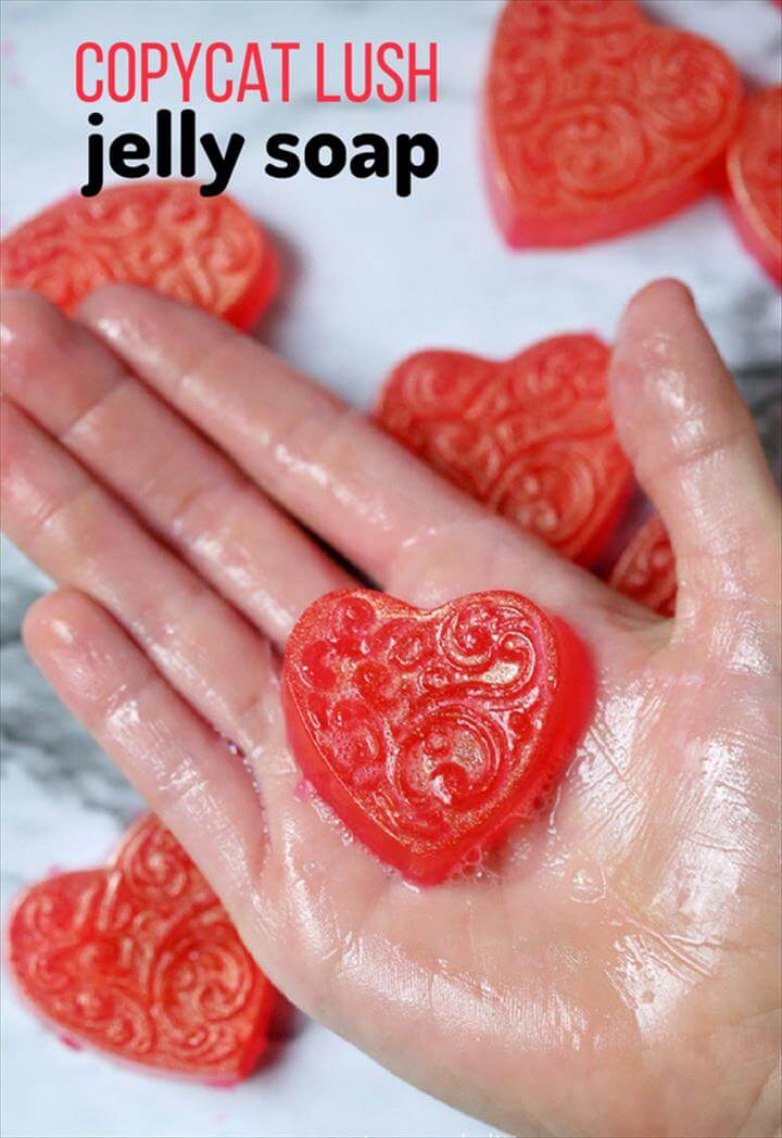 A pretty DIY Soap recipe for Copycat Lush Jelly Soap, a jiggly and squishy soap