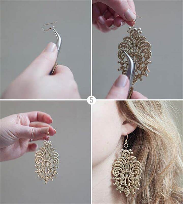 DIY Earrings and Homemade Jewelry Projects - Lace Earrings - Easy Studs, Ideas with Beads