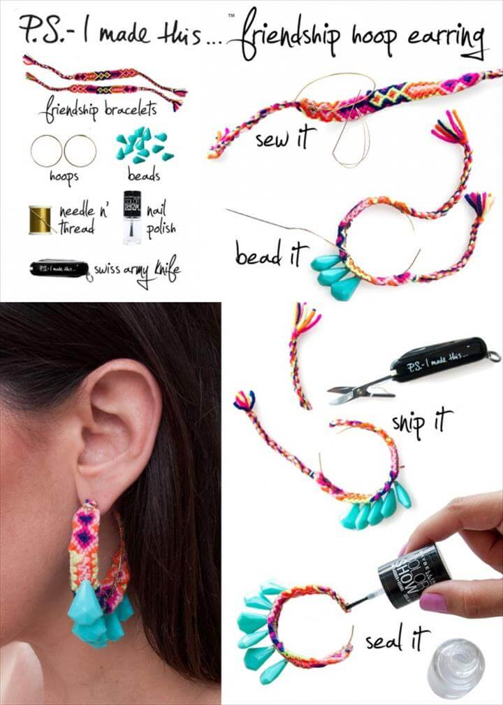 Friendship Hoop Earring, Easy and Beautiful Earring DIY Ideas