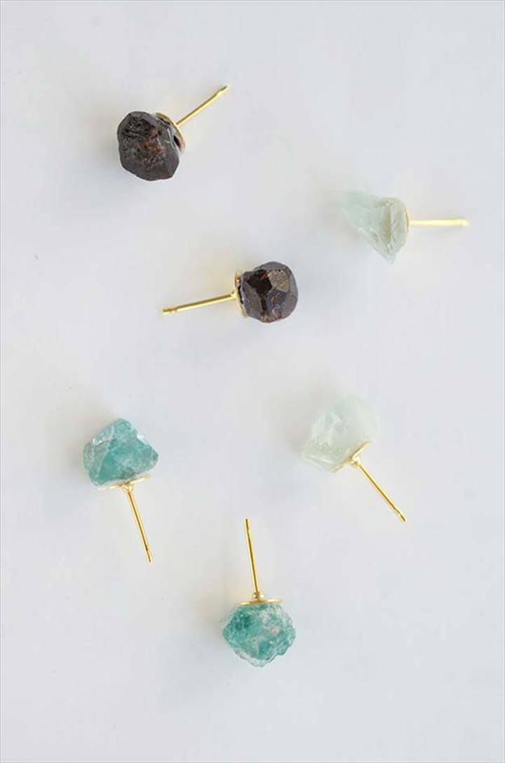 DIY Earrings and Homemade Jewelry Projects - Raw Stone Earrings - Easy Studs, Ideas with