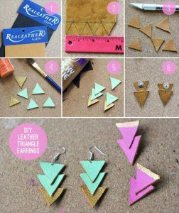 DIY Earrings and Homemade Jewelry Projects - Leather Triangle Earrings - Easy Studs, Ideas with