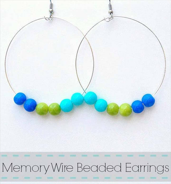 DIY Earrings and Homemade Jewelry Projects - Memory Wire Beaded Earrings - Easy Studs, Ideas