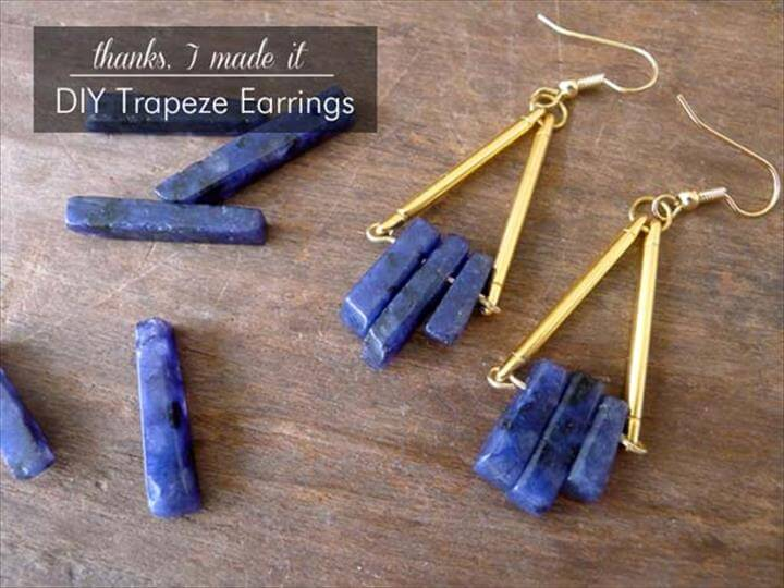DIY Earrings and Homemade Jewelry Projects - Trapeze Earrings - Easy Studs, Ideas with Beads