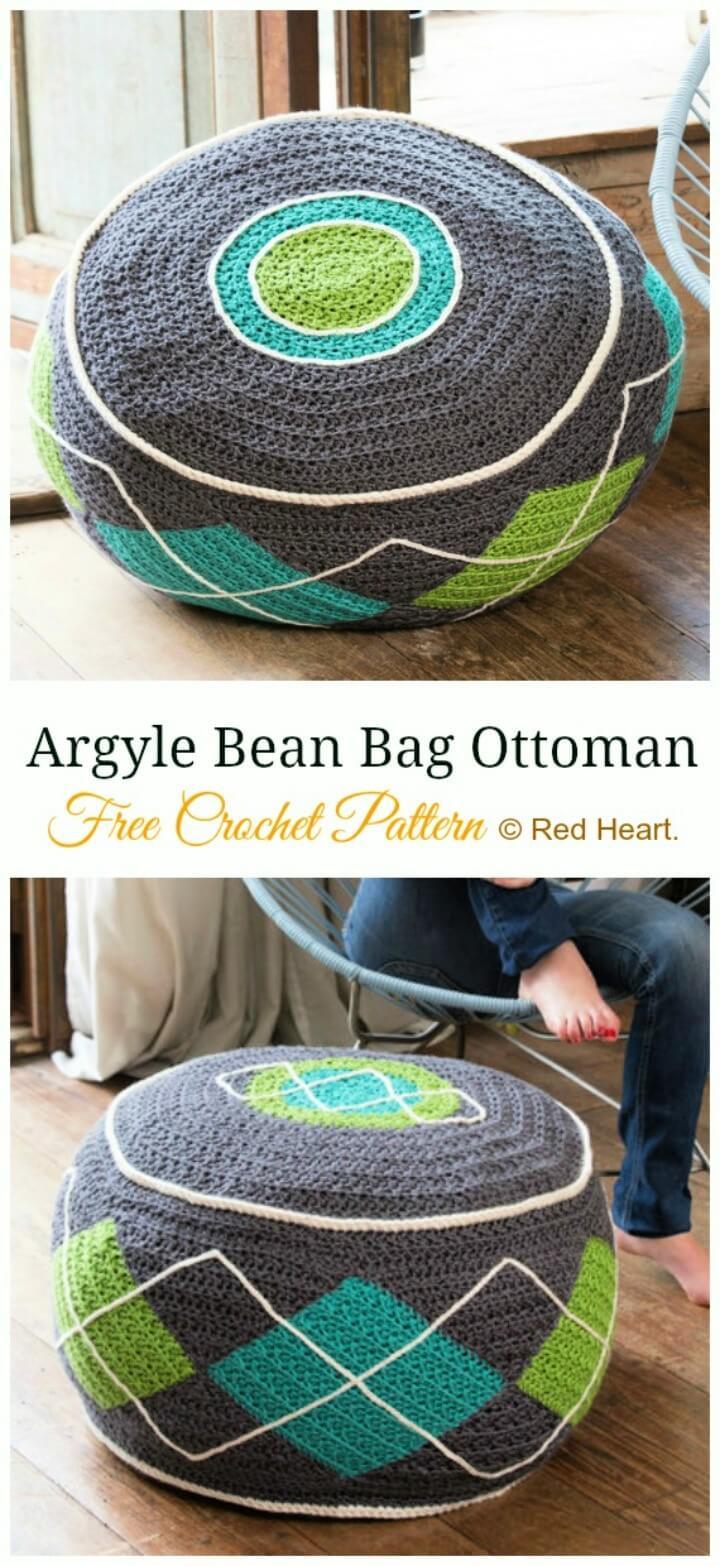 Argyle Bean Bag Ottoman Crochet Free Patter