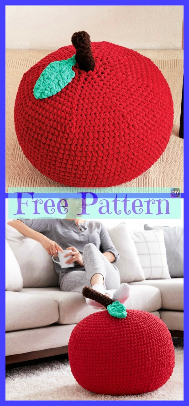 Crochet Colorful Pouf Free Pattern