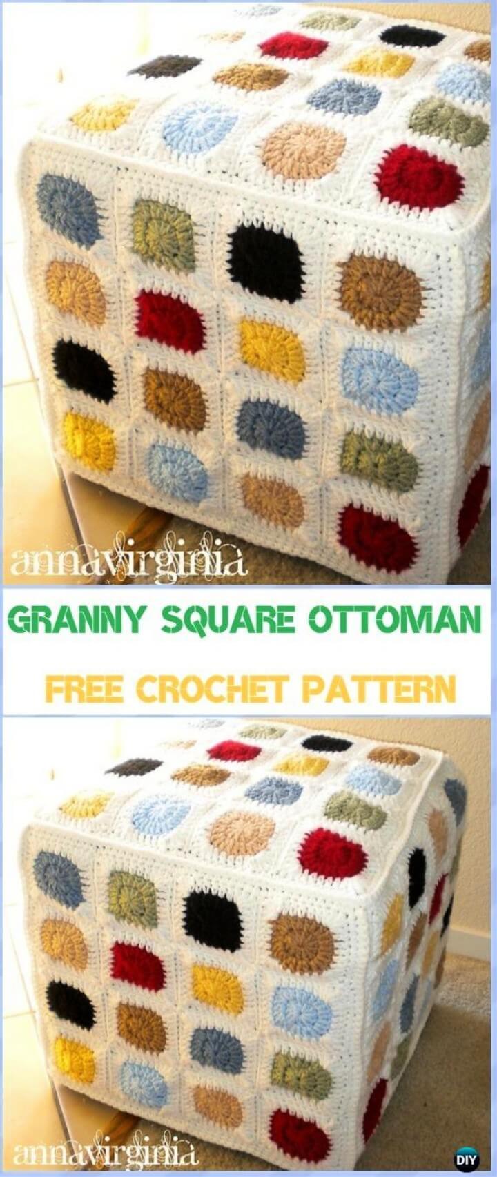Granny Square Ottoman Cover