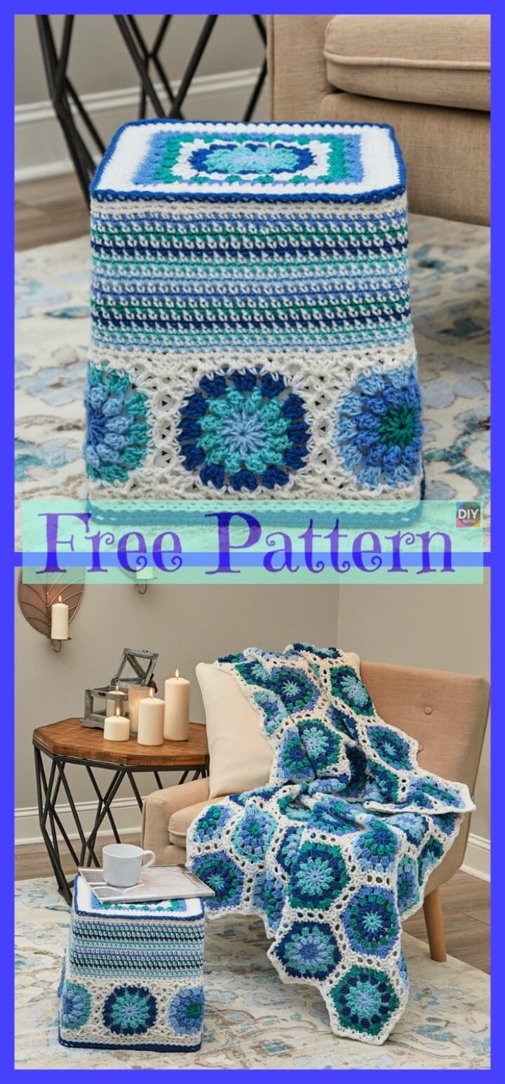 Crochet Hexagon Ottoman Free Pattern