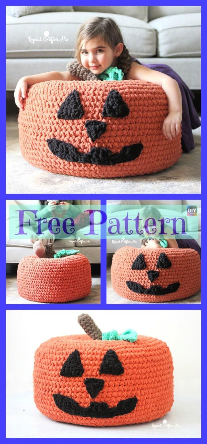 Crochet Jack-o-Lantern Pumpkin Pouf