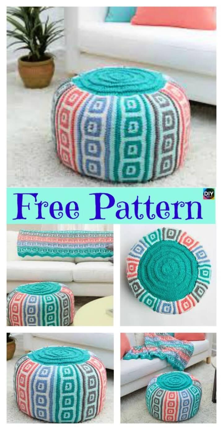 Crochet Mosaic Squares Pouf