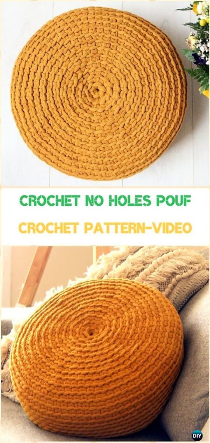 Crochet No Holes Pouf Cover