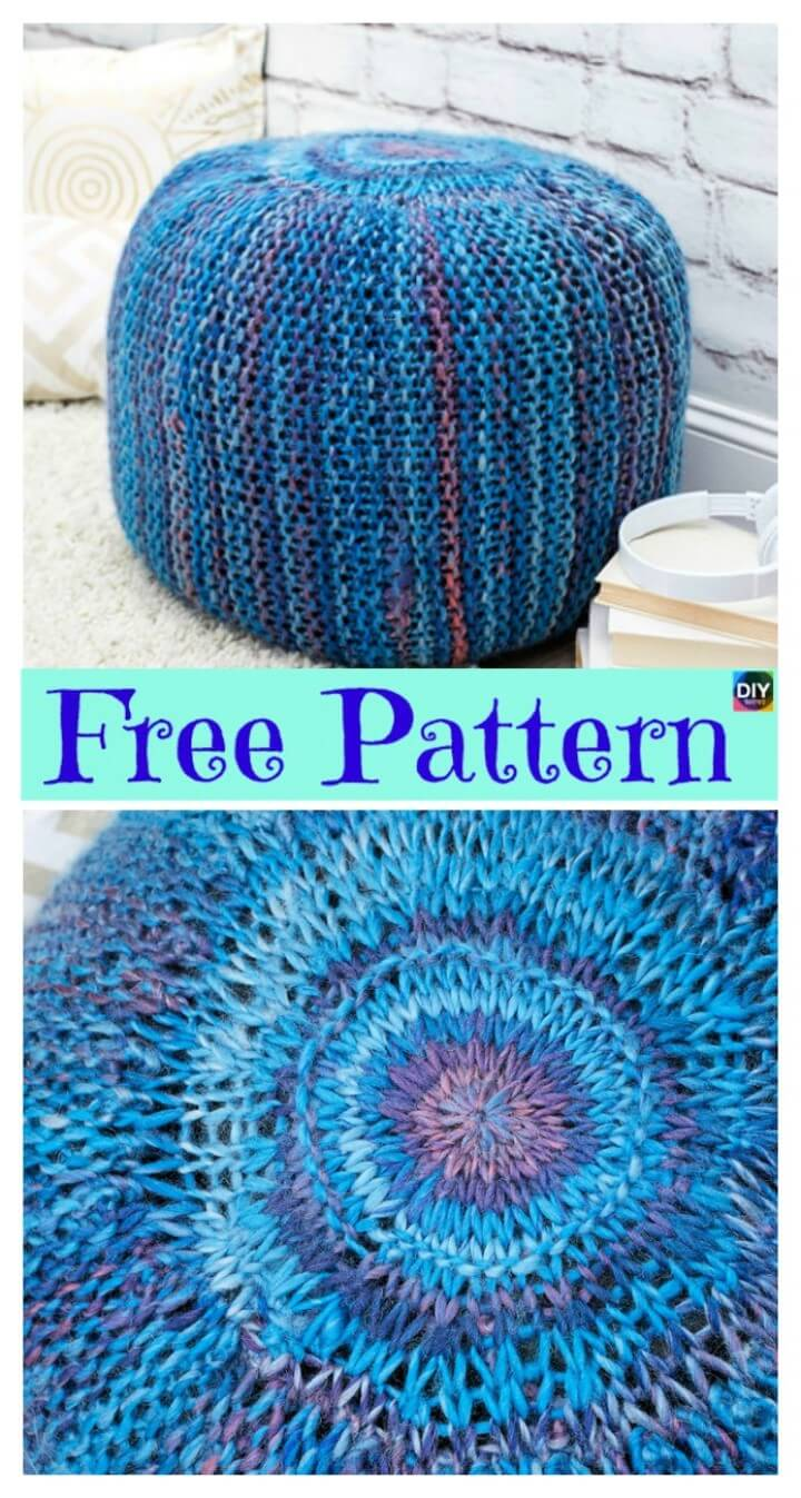 Crochet Pop of Color Knit Pouf