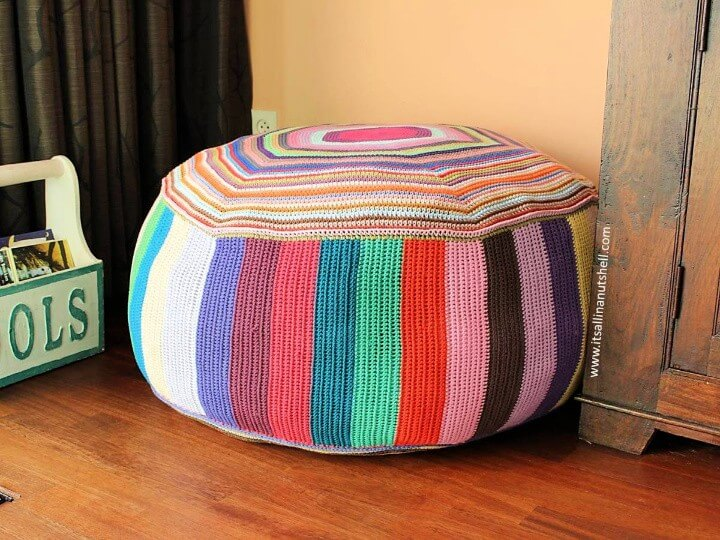 Pouf of Many Colors – Free Crochet Pattern