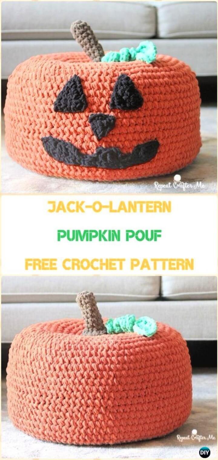 Crochet Pumpkin Pouf