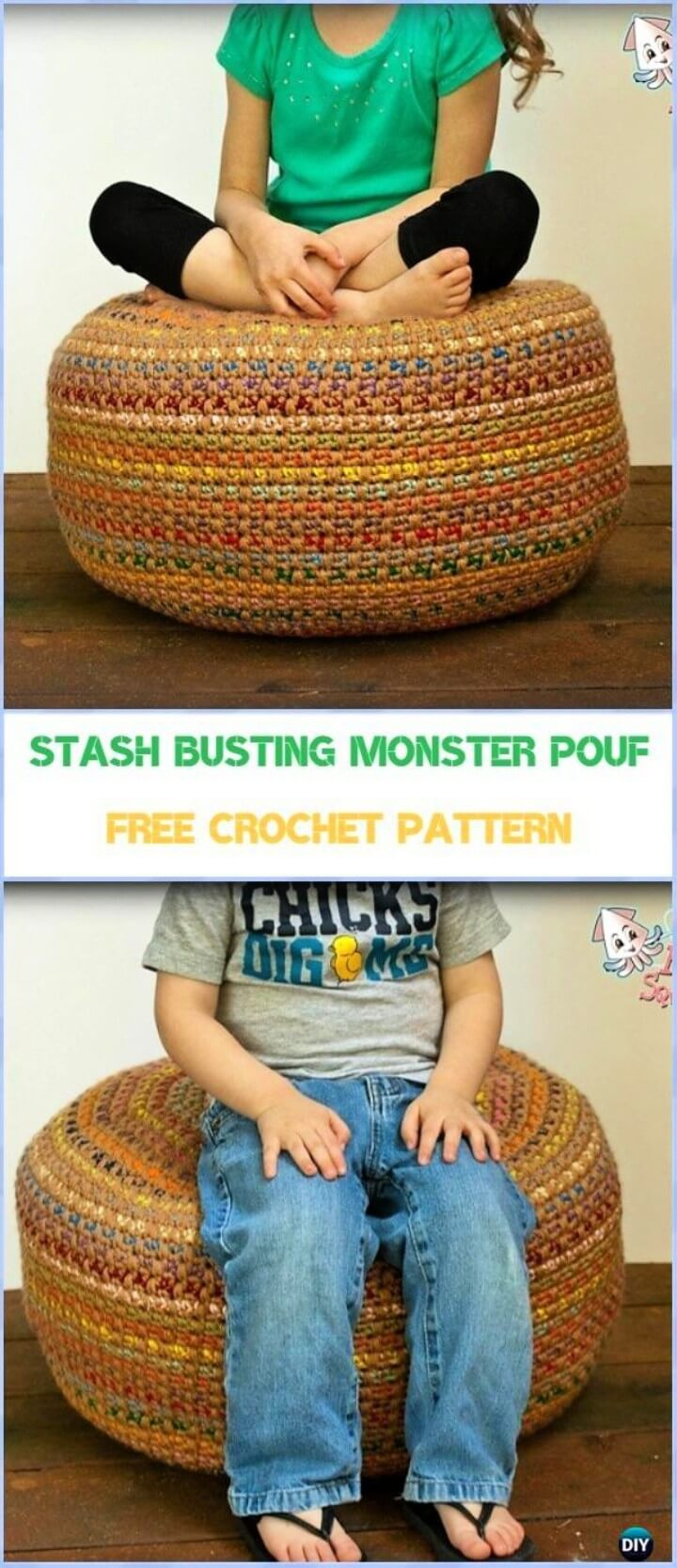 Stash Busting Monster Pouf