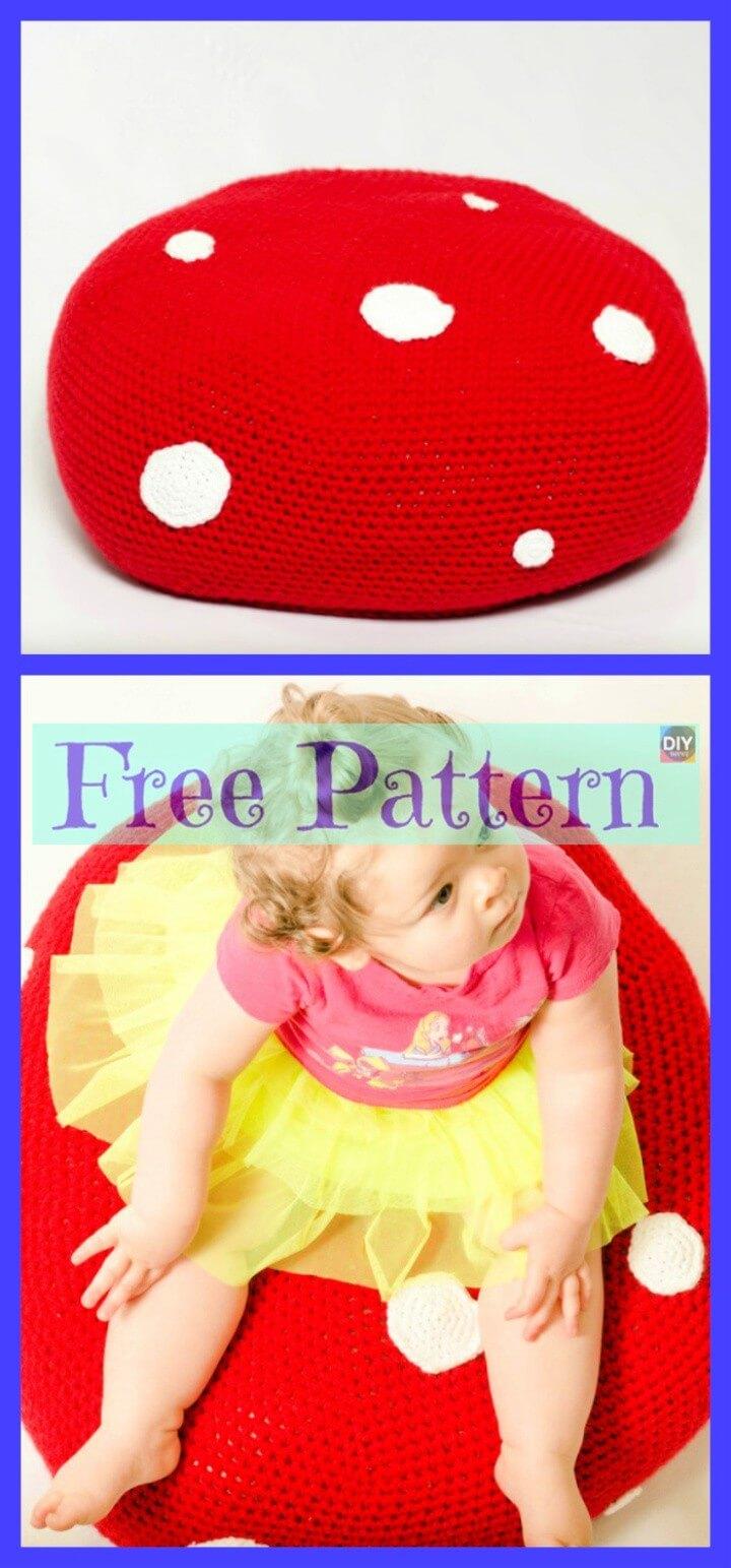 Crochet Toadstool Pouf Free Pattern