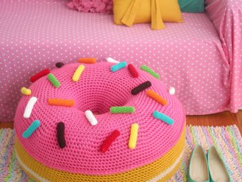 Crochet a Donut Floor Cushion from Twinkie Chan's Crocheted Abode a la Mode!