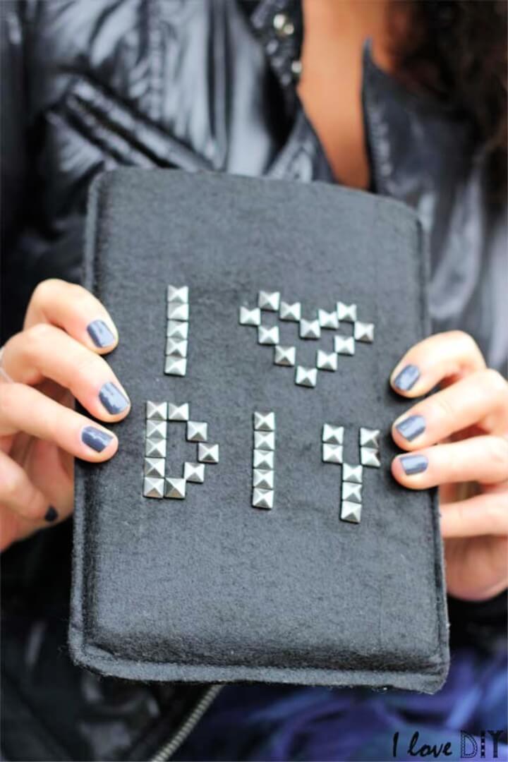 DIY black felt case with studs