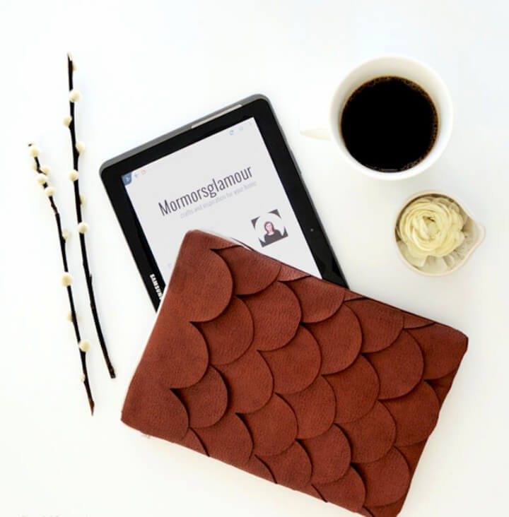 DIY brown leather scallop tablet case
