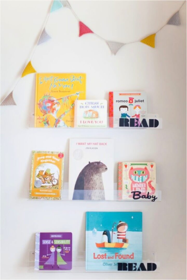 DIY Clear Nursery Shelves