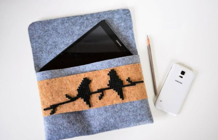 DIY felt tablet case with beaded birds
