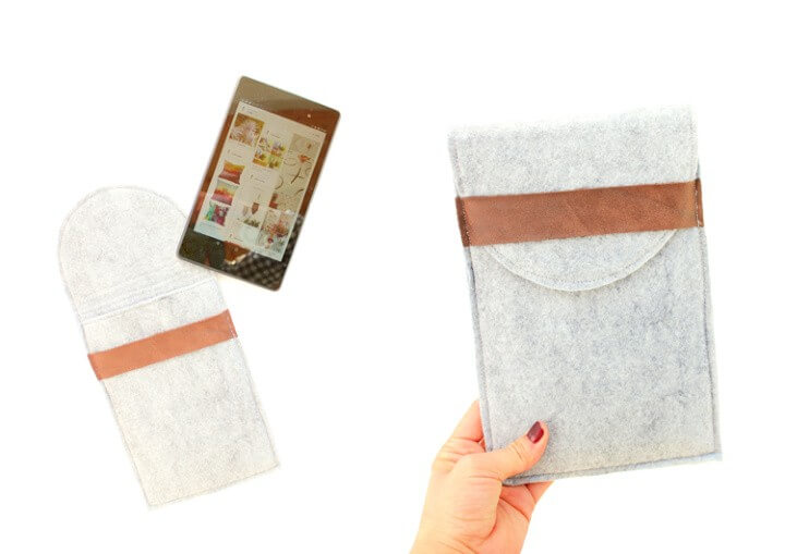 DIY felt and leather tablet case
