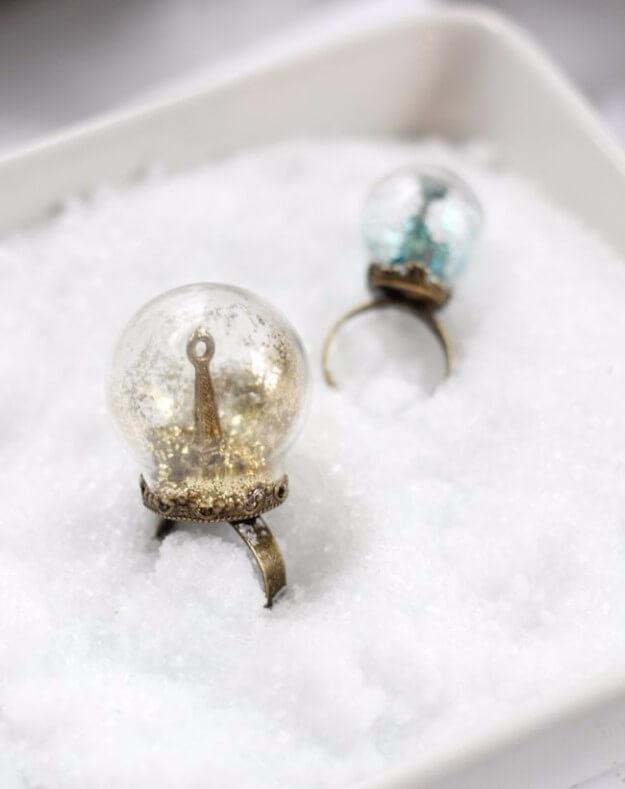 Glitter Snow Globe Ring