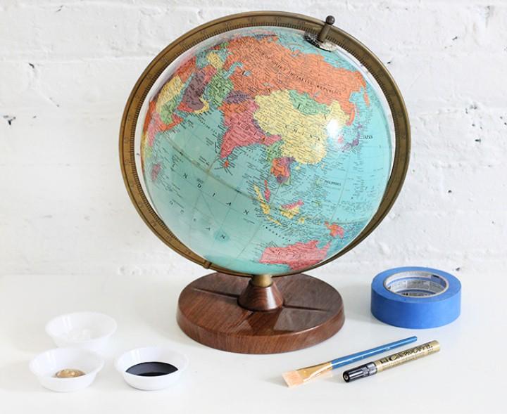 Gold & Chalkboard Globe