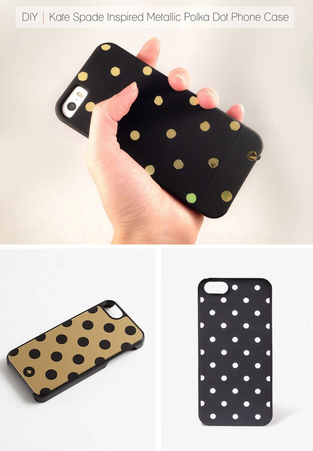 DIY Kate Spade Inspired Metallic Polka Dot Phone Case