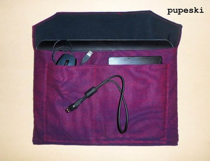 DIY laptop case with accessory pockets