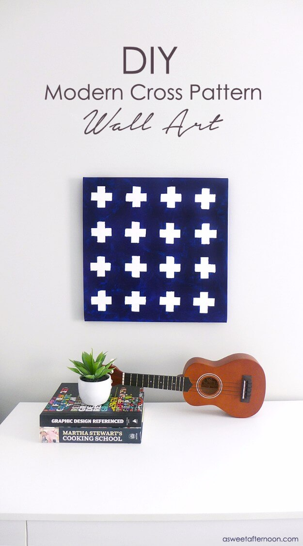 DIY Modern Navy White Cross Pattern Wall Art