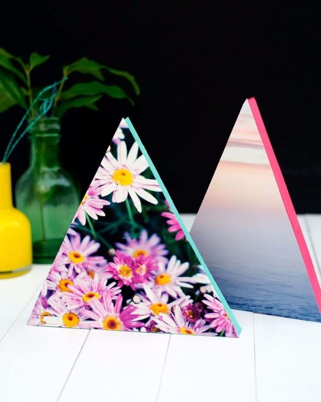 DIY Neon Triangle Photo Frames