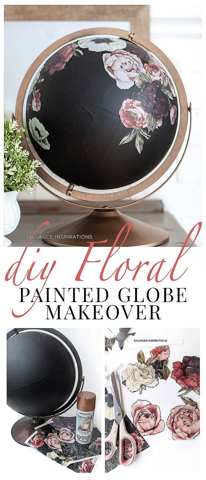 DIY Painted Globe & Furniture Transfers