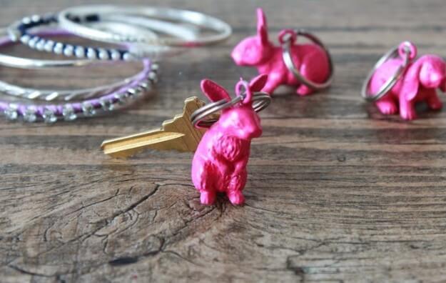 Plastic Bunny Key Chain