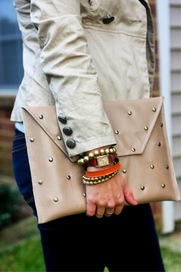 Studded Leather Envelope Case