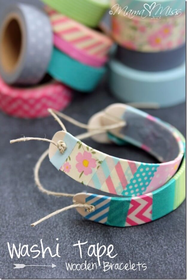 DIY Washi Tape Wooden Bracelets
