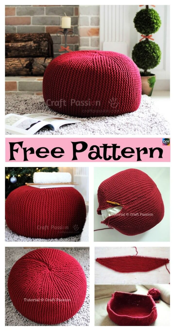 Easiest Knitting Pouf Free Pattern