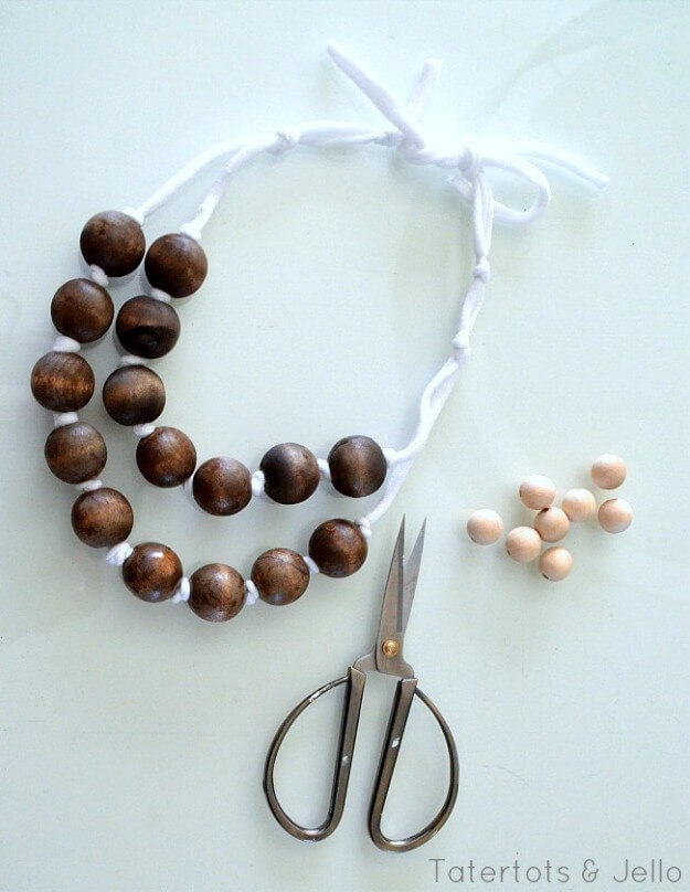 Easy DIY Wood And Ribbon Necklaces