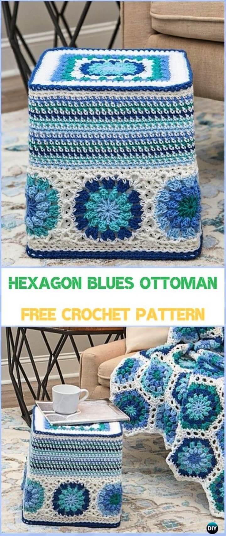 Hexagon Blues Ottoman