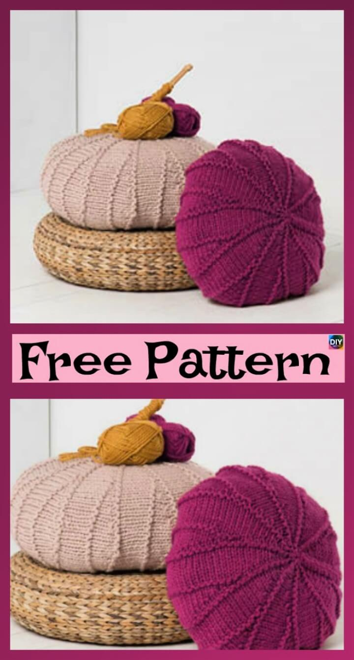 Knitting Crochet Falling Leaves Textured Poufs