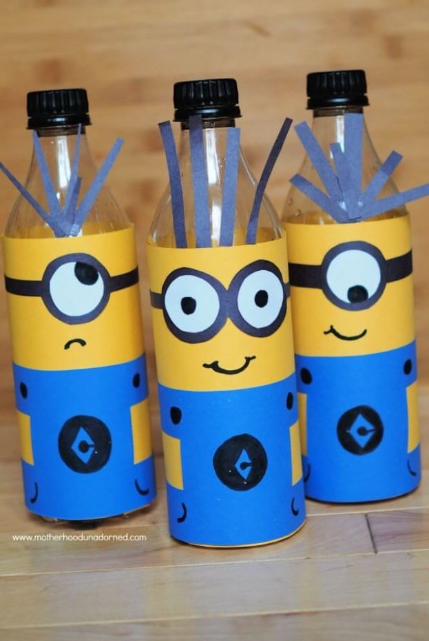 Minions Inspired DIY decor made with recycled soda bottles