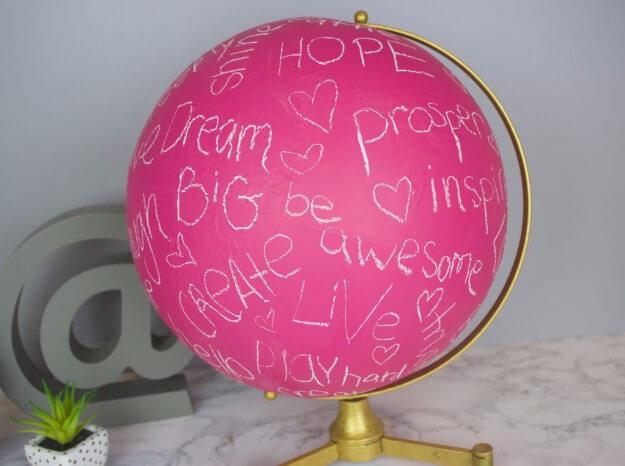 Pink Chalkboard Globe