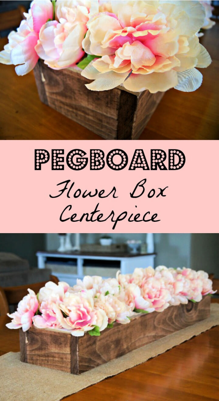 Use pegboard and wood to make a centerpiece. Flower stems go right into