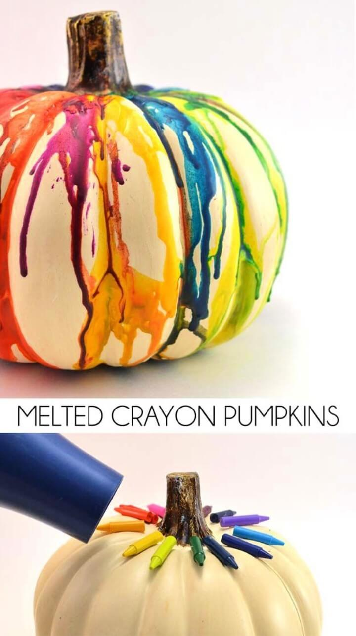 Best DIY Rainbow Crafts Ideas - Melted Crayon Pumpkin Craft - Fun DIY Projects With Rainbows