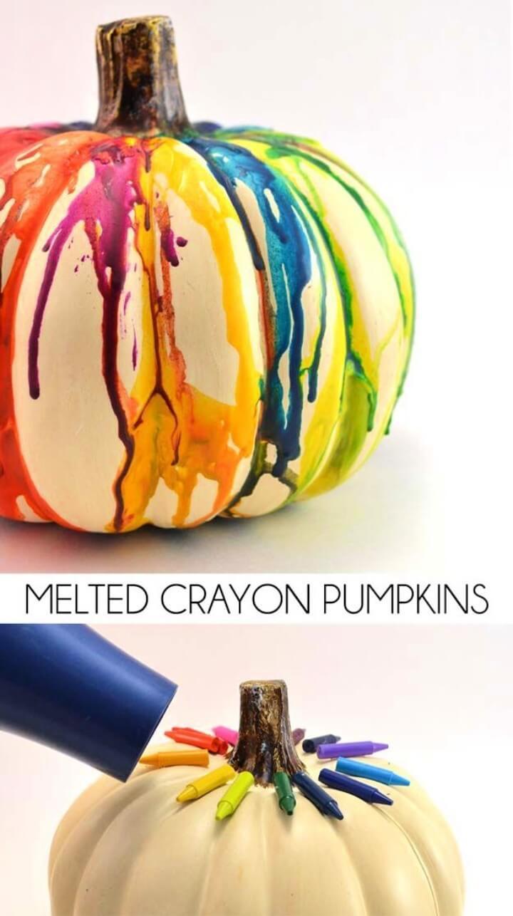 Best DIY Rainbow Crafts Ideas - Melted Crayon Pumpkin Craft - Fun DIY Projects With Rainbows
