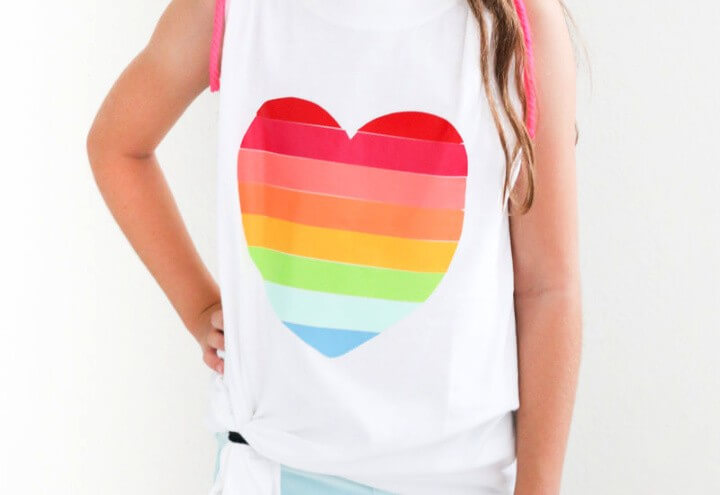 DIY Rainbow Heart Shirt