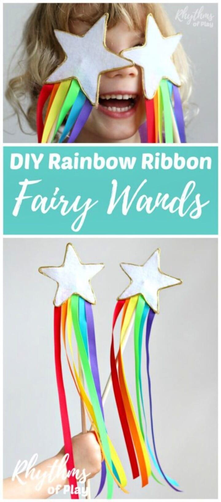 DIY Rainbow Ribbon Fairy Wands for Kids