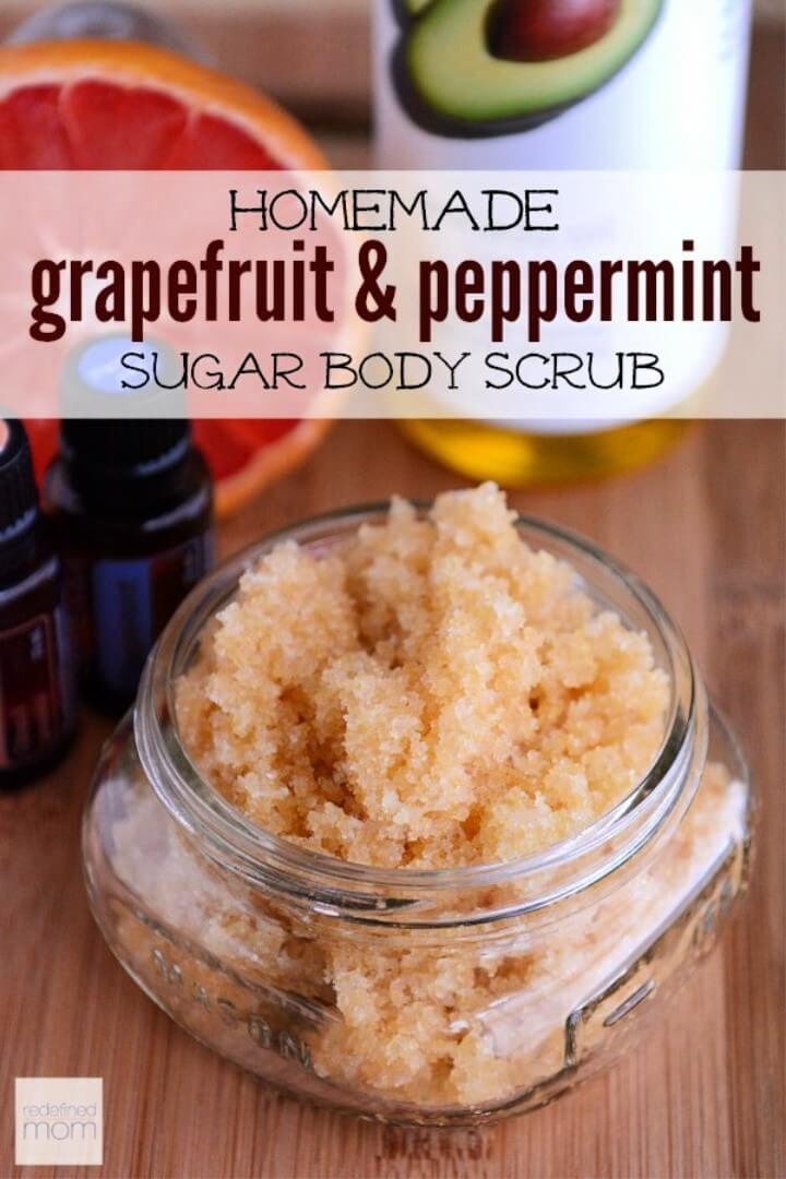 All-Natural Homemade Grapefruit and Peppermint Sugar Scrub Recipe