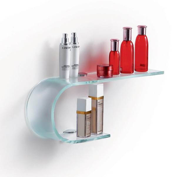 Most Stylish Bent and Curved Floating Glass Shelves